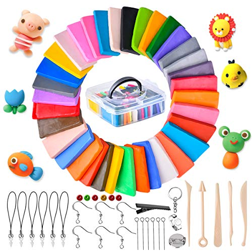 Funkprofi Polymer Clay Set, 36 Colors Bakeable Clay for Sculpting, Oven Bake Modeling Clay,Non-Stick, Non-Toxic, Polymer Clay Kit with Tools, Supplies and Storage Box,Ideal Gift for Kids and Adults