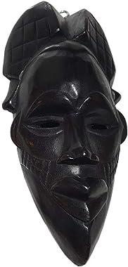 NOVARENA African Art Cameroon Gabon Fang Wall Masks and Sculptures - Africa Home Mask Decor (1 Pc Congo 12 Inch Black Mask)