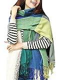 heekpek Mujeres caliente Mantas Cozy Pashmina bufanda larga tartán enrejado mantón (Verde+Azul)