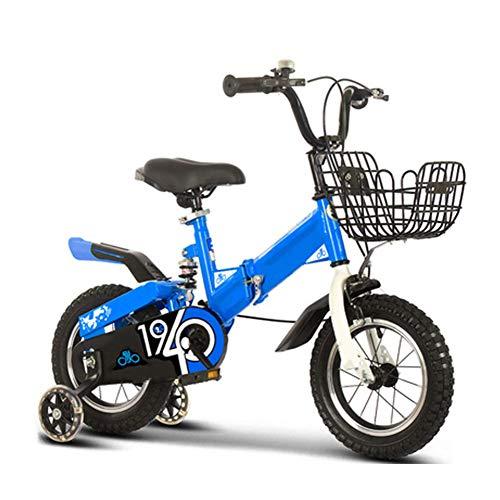 FDSAG Faltbar Kinder Fahrrad Mädchen Jungen, Mini Single Geschwindigkeit Mit Ausbildung Rad 12 Zoll, 14 Zoll, 16 Zoll, 18 Zoll - Mountainbike, Komfortabel Tragbar Sitz,14 inch
