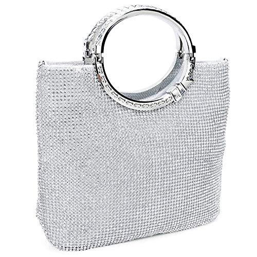REFURBISHHOUSE Damen Handtasche Strass + Satin Brot Abendtasche Hochzeit Handtasche (Silber)