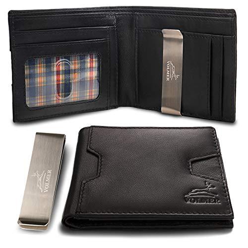 Fa.Volmer® Geldbörse   Portemonnaie aus 100% Leder mit entnehmbarer Geldklammer und RFID-Schutz   Geldclip, schwarz, mit Extra-Fach für z.B. Kleingeld   Modell San Fernando (schwarz)