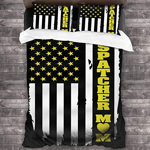 KDRW 911 Dispatcher Thin Gold Line Flag Duvet Cover Bedding Sheet Set, 3 Piece Set Soft (Duvet Cover + 2 Pillowcases)