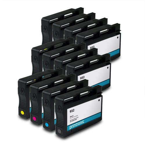 Printronic Remanufactured Ink Cartridge Replacement for HP 933 CN058AN ( Black,Cyan,Magenta,Yellow , 12-Pack )