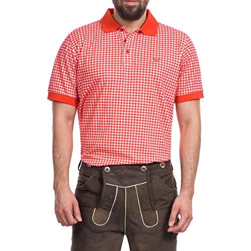 Tracht & Pracht Herren 100% Baumwolle - Trachtenhemd Polo T-Shirt Karo Rot - L