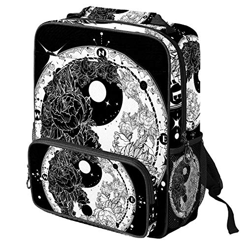 TIZORAX School Bag for Girls Boys Student Bookbag Yin and Yang Tattoo Art Meditation Floral Roses Pattern Women Travel Backpack Casual Daypack Travel Hiking Camping