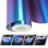 VINYL FROG Matte Metallic Chameleon Purple-Blue Vehicle Car Vinyl Wrap Stretchable Air Release DIY Decoration 2.95 x 5ft