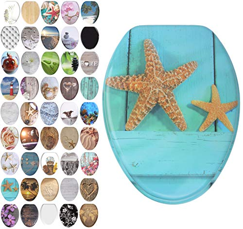 Sanilo Elongated Toilet Seat, Wide Choice of Slow Close Toilet Seats, Molded Wood, Strong Hinges (Starfish)