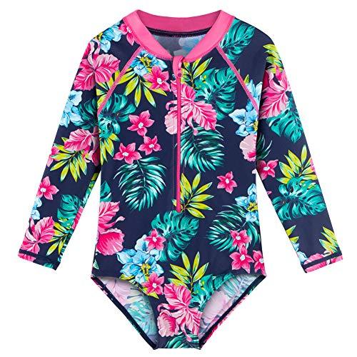 BAOHULU Traje de baño de manga larga para niñas con protección contra erupciones UV 50+ traje de baño para niños con cremallera, Flor azul marino , 7-8 Años