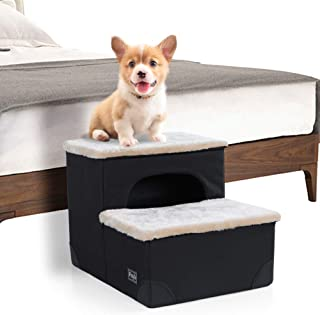 "Petsfit 2-Steps Portable Dog Stairs, Wide and Sturdy for Dogs Up to 30 Pounds, 17"" x 12.5"" x 10.5"""