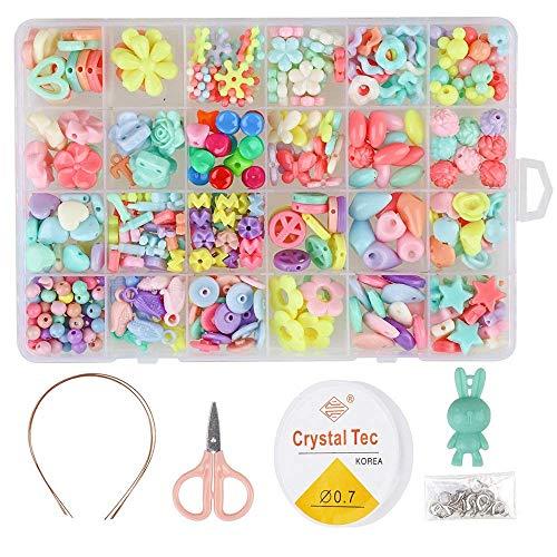 TWSTYFAL Perlen zum Auffädeln, DIY Perlen Set Armbänder Selber Machen Kinder Schmuck Schnurset, Buchstaben Perlenschmuck Schmuckbasteln, 24 Farben Perlen zum Auffädeln