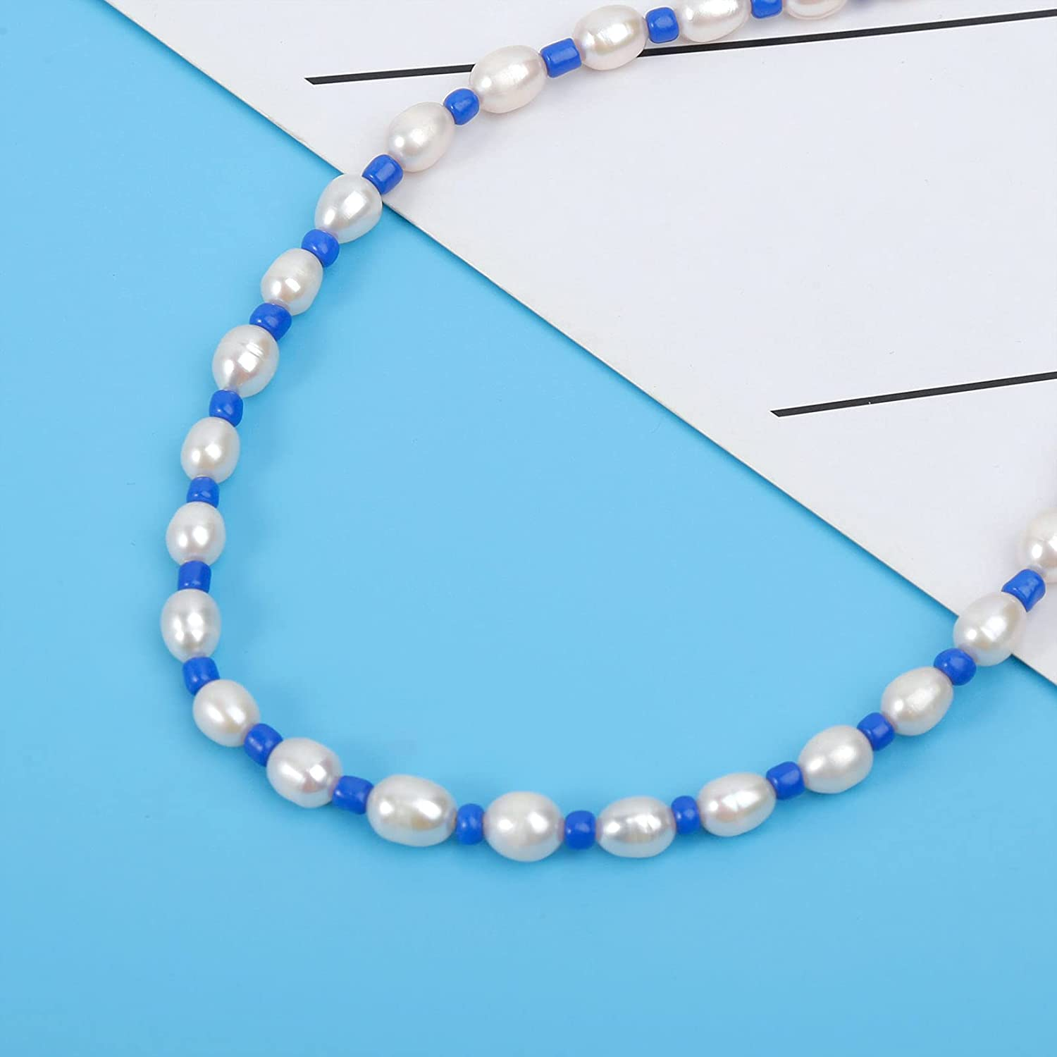 Wgoud Natural Freshwater Pearl Choker Necklace for Women, Trendy 14K Gold Plated Handmade Pearl Necklaces Jewelry Gift