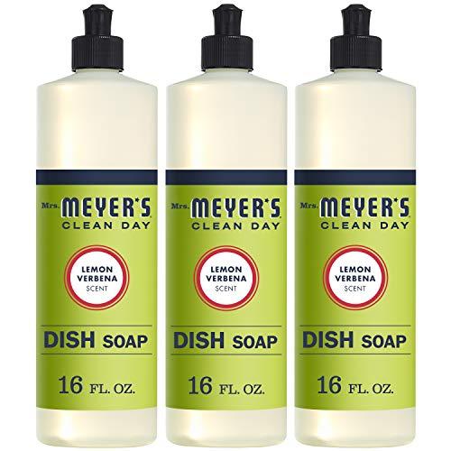 Mrs. Meyer's Clean Day Dishwashing Liquid Dish Soap, Cruelty Free Formula, Lemon Verbena Scent, 16 oz - Pack of 3