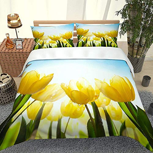 Duvet Cover Sets 3 Pcs Yellow Tulip Garden 3D Printed Soft Bedding Set Microfiber Quilt Cover With Zipper Closure Ties 2 Pillow Shame For Adults And Teens- King:230X220Cm + 50X75Cm * 2