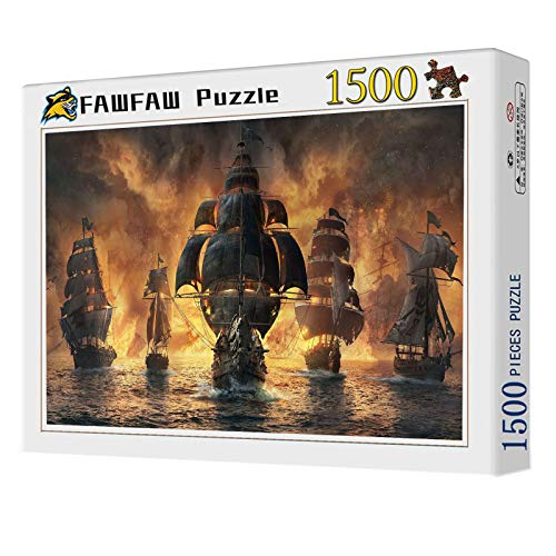 FAWFAW Puzzle Personalizado 1500 Piezas, Batalla Naval De Veleros, 1500/1000/500 Piezas, Brain Challenge Jigsaw Puzzle Games