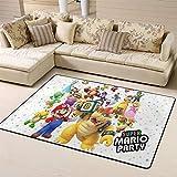 Wlkecgi Super Mario - Alfombra para sala de estar, ideal como regalo para niños para la sala de juegos, dormitorio, fiesta de Super Mario, poliéster, A, 5'x6'(150cmxG180cm)