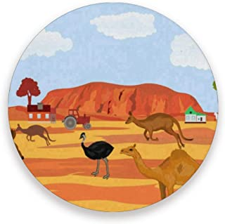 Coasters for Drinks,Australia Kangaroo Ostrich Ceramic Round Cork Trivet Heat Resistant Hot Pads Table Cup Mat Coaster-Set of 2 Pieces