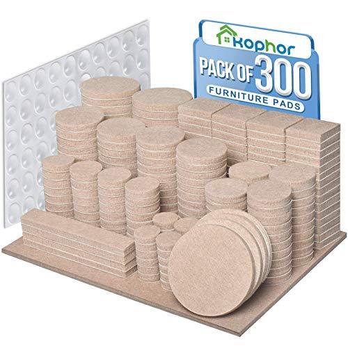 Filzgleiter Selbstklebend Set 300 Stück- Beige - Premium Möbelgleiter Filz für Stühle mit 10 verschiedenen Größen - Filzunterlagen für Möbel Bodengleiter Filz Pads Kratzschutz