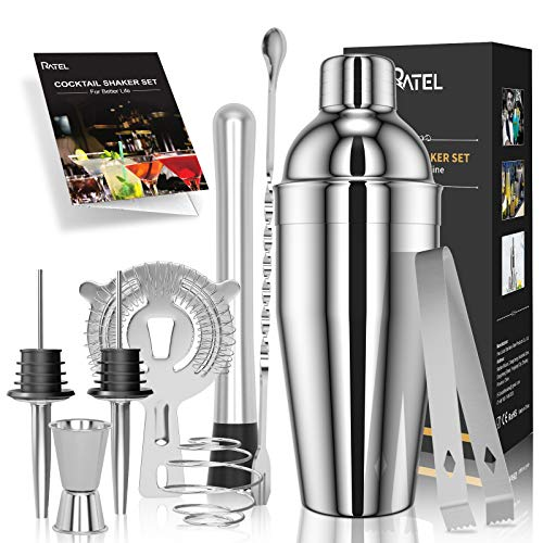 RATEL Set 9 Pezzi Cocktail, Set Shaker in Acciaio Inossidabile, Strumento Accessorio Barra Professionale, Kit per Cocktail con Shaker da 750 Ml, Filtro, Pinze per Ghiaccio, Libro Cocktail ECC