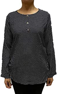 Veronica Long Sleeve Ladies Blouse Round neck black polka dots