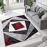 TAPISO Dream Tappeto Soggiorno Salotto Moderno Grigio Rosso Geometrico Quadrato A Pelo Corto 130 x 190 cm