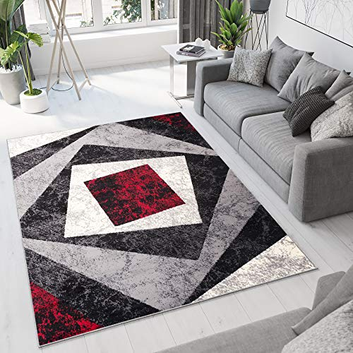 TAPISO Dream Tappeto Soggiorno Salotto Moderno Grigio Rosso Geometrico Quadrato A Pelo Corto 160 x 230 cm
