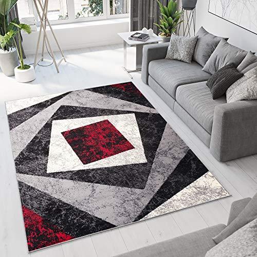 TAPISO Dream Tappeto Soggiorno Salotto Moderno Grigio Rosso Geometrico Quadrato A Pelo Corto 160 x 220 cm