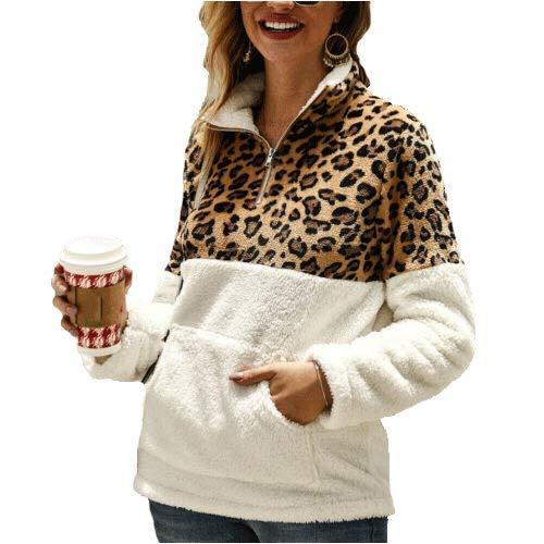 Geagodelia Sudadera de mujer de invierno de manga larga con cremallera, estampado de leopardo, cálido, estilo informal y elegante, S-XL Bianco L