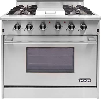 "DRGB3601 36"" Pro-Style Gas Range with 4 Sealed Burners, 18500 BTU Infrared Griddle, 5.2 Cu. ft. Manual Clean Convection Oven and Infrared Broiler in Stainless Steel"