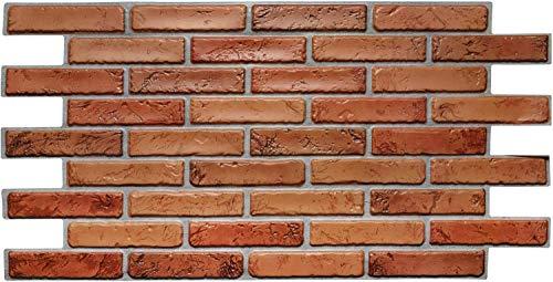 Paneles de pared de PVC 3D decorativos revestimientos - ladrillo rojo (20 unidades / 9,6 m2)
