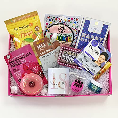 Cesta para mimar feliz cumpleaños de 18 años, regalo de cumpleaños, regalo de 18 cumpleaños, regalo para hija, cesta para mimar para ella