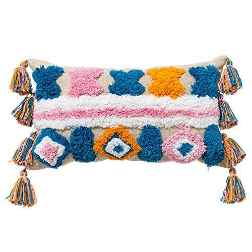 jumpXL Funda de almohada lumbar bohemia, 30 x 50 cm, multicolor, geométrica, con borla, funda de cojín moderna decorativa para sofá, patio, decoración del hogar