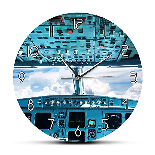 yaoyao Muur Klokken Voor Thuis Vliegtuig Cockpit Print Muur Art Decoratieve Wandklok Vliegtuig Interieur Cockpit View Binnen De Luchtvaart Piloot Wandklok Voorkeur Materiaal Fijne Werking