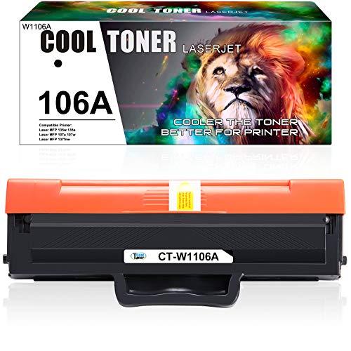 Cool Toner 106A Compatiblie Toner per HP 106A W1106A Cartucce di Toner per HP Laser MFP 107w 107a 107r HP Laser MFP 135a 135wg 135w 135ag 135r HP Laser MFP 137fnw 137fwg, 1 Nero Toner 106A
