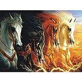 5D Pintura de Diamantes niños Adultos por Numero kits Cuatro caballos Bordado de Diamante Art Craft de cruz Punto lienzo Picture Manualidades para Decoración de Pared(40x60cm/16x24in Square drill)