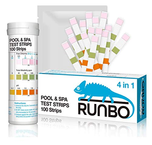 RUNBO 4 in 1 Pool & SPA Quality Testing Strips Easy and Accurate Test Free Chlorine, Bromine, Total Alkalinity and pH. 100 Counts.