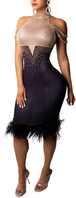 Salimdy Womens Sexy Rhinestone Patchwork Off Shoulder Sleeveless Turtleneck Zipper Feather Hem Bodycon Midi Dress