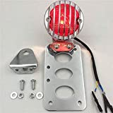 HTTMT MT401- Motorcycle Custom Chrome Side Mount Tag License Plate Holder Bracket with LED Tail Light Brake Light Compatible with Harley Softail Touring Sporster