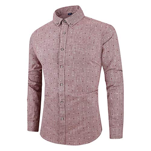 serliy😛Herren Slim-Fit Hemd aus Baumwoll-Popeline Button-Down-Kragen und Langen Ärmeln Hemd Tailored Business Kent Gestreift
