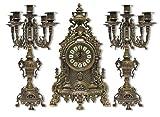 Tríada Reloj barroco latón con acabado pulido Candelabri Francesa de 30
