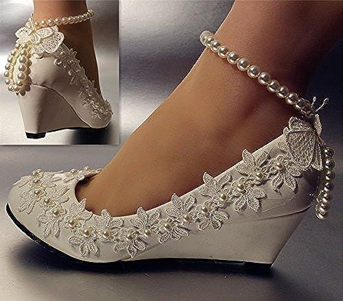 JINGXINSTORE JINGXINSTORE 5.5cm Wedge Dentelle Ivoire Perle mariée Mariage Chaussures Taille 5–12  chaud