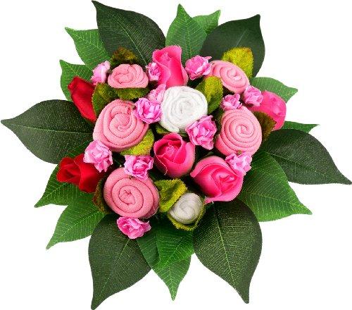 Babuqee 110120 Bouquet Basic - Babystrauss, pink , ein ganz exklusives Geschenk zur Geburt