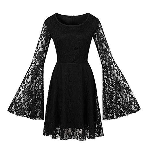 abito donna gotico Wellwits - Abito da donna con maniche svasate