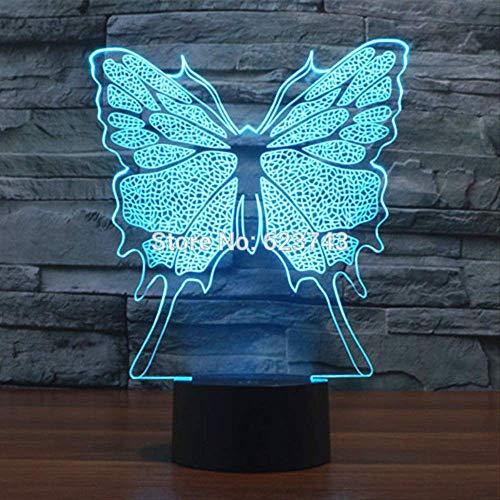 Multi color que cambia la mariposa que destella acrílico 3d llevó la luz de la noche Usb llevó la lámpara de mesa decorativa del sueño del bebé llevó la lámpara del humor