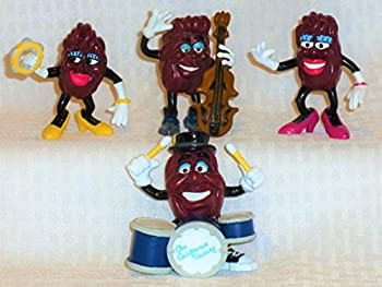 Vintage 1988 Ultra Rare California Raisins Complete THE BAND Set of 4-BASS PLAYER,YELLOW SHOES FEMALE with TAMBORINE,DRUMMER PINK SHOES FEMALE-CMV $70-NEW in Factory Sealed Package