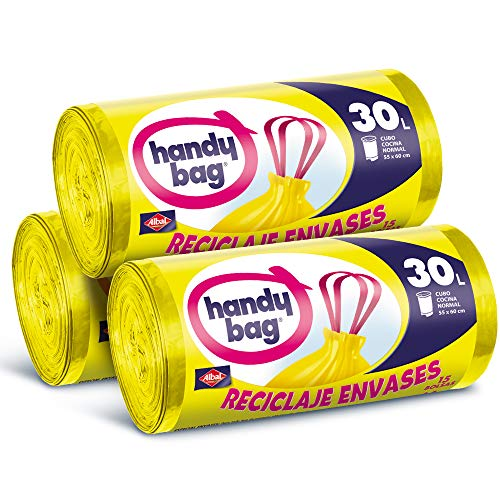 Handy Bag Bolsas de Basura 30L, Reciclaje Envases, Extra Resistentes, 45 Bolsas