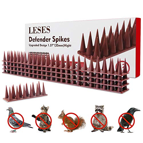 LESES Bird Spikes Deterrent Spikes Birds Repellent Spikes, Pigeons Spikes Outdoor Anti-Climb Plastic Security Fence Spikes of 12 Pack [16.5 FT]