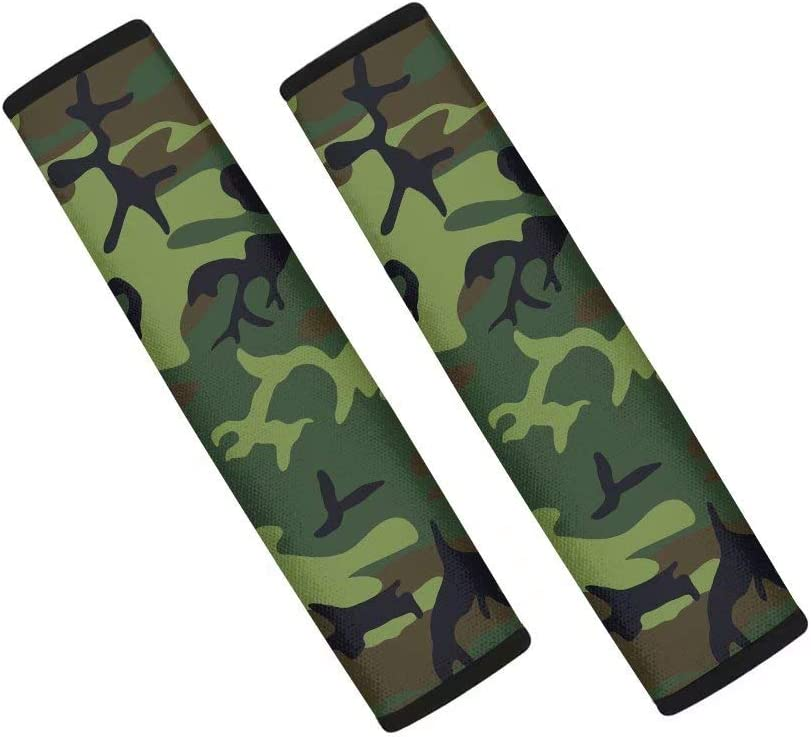 GIFTPUZZ Green Camo Car Accessories Seat Belt Shoulder Pad Neoprene Soft Comfort Shoulder Protector Cushion Padded Climbing Hinking Backpacker Shoulder Strap Covers 2 Pack Universal Fit