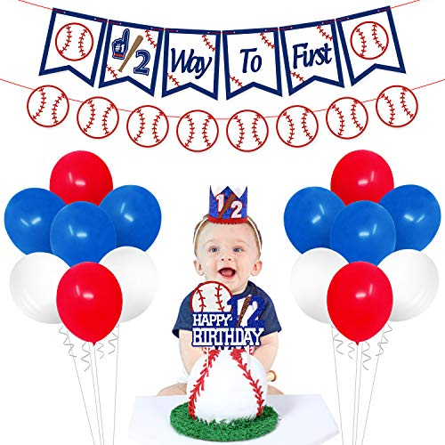 Baseball Half Birthday Party Decorations Kit Sports Theme Half Way To First Banner Glittery Happy 1/2 Birthday Cake Topper Crown Hat Party Balloons for Baseball 6 Months Baby Milestone Backdrop Photo Props Baby Shower Supplies