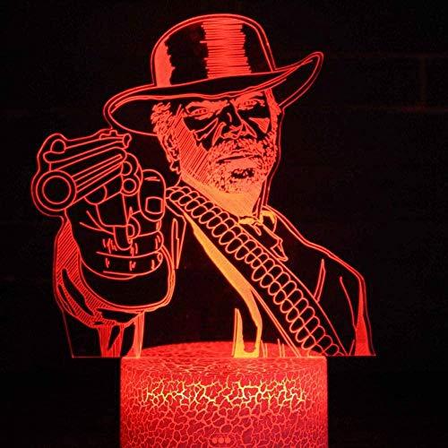 BTEVX Lámpara de ilusión 3D Luz de noche LED Dutch Van Der Linde Juego de dormitorio Red Dead Redemption 2 Regalo l hogar Lámpara de mesa Regalos para niños